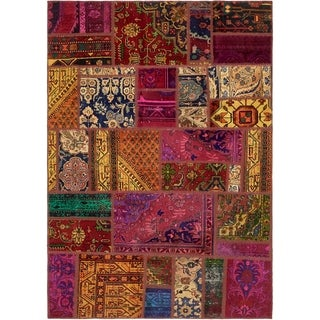 Hand Knotted Ultra Vintage Antique Wool Area Rug - 5' 5 x 7' 9