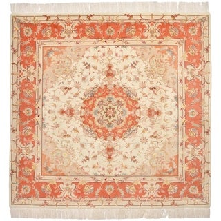 Hand Knotted Tabriz Silk & Wool Square Rug - 6' 6 x 6' 9