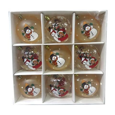 ALEKO Christmas Iridescent Holiday Ornament Pack of 9 Snowman Set