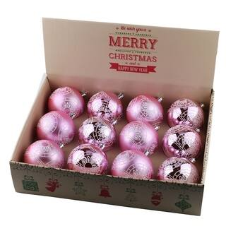 Aleko Christmas Winter Print Ornament Holiday Set With Decorative Box Of 12 Light Pink