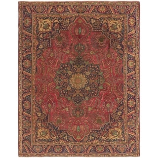 Hand Knotted Tabriz Semi Antique Wool Area Rug - 9' 10 x 12' 10