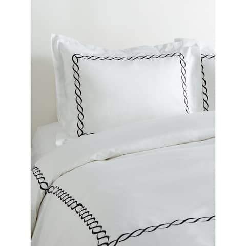 Home Sweet Home Collection 600 Thread Count Cotton Rope Embroidery Duvet Set