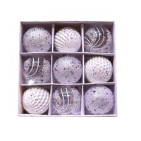 ALEKO Christmas Iridescent Holiday Ornament Set of 9 White and Silver