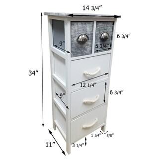 Evideco 3 or5 Drawers Storage Unit Wood -Metal and Rope Handles