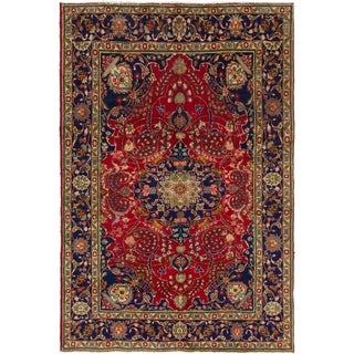 Hand Knotted Tabriz Semi Antique Wool Area Rug - 6' 4 x 9' 5