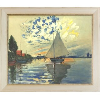 Claude Monet 'Sailboat at Le Petit-Gennevilliers' Hand Painted Oil Reproduction