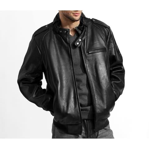 Men's Black Lambskin Leather Bomber Jacket with Moto Collar