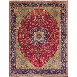 Hand Knotted Tabriz Semi Antique Wool Area Rug - 9' 3 x 12' 5