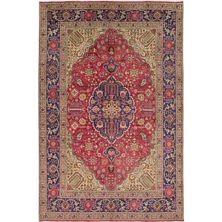 Hand Knotted Tabriz Semi Antique Wool Area Rug - 7' 2 x 10' 9
