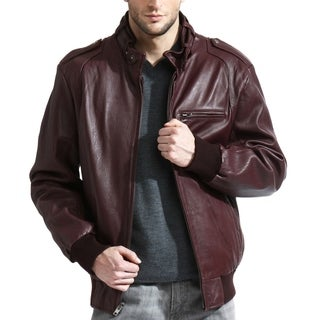Men's Burgundy Lambskin Leather Bomber Jacket with Moto Collar