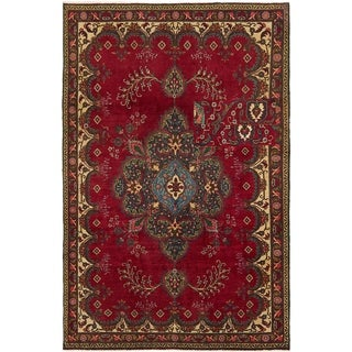 Hand Knotted Tabriz Semi Antique Wool Area Rug - 5' 7 x 8' 9