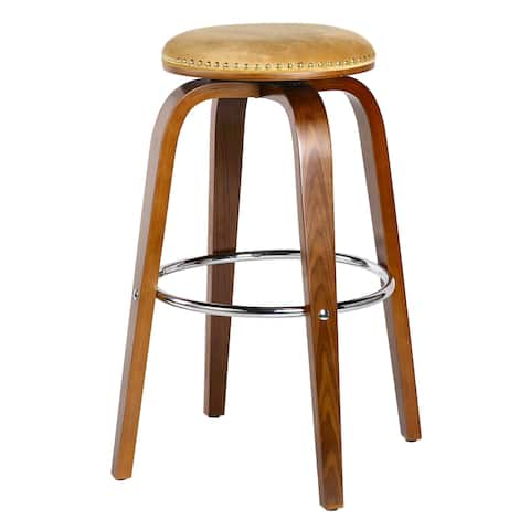 Porthos Home Ellis Beech Wood Bar Stools - Suede Upholstery, Set of 2