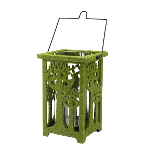 """13.75"""" Green Moss Covered Tree Cut-Out Pillar Candle Lantern"""