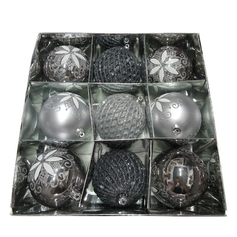 ALEKO Christmas Iridescent Holiday Ornament Pack of 9 Silver and Gray