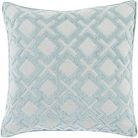 X's and Squares Light Air Blue and Soft Grey 18-inch Woven Throw Pillow