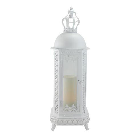 """30"""" Antique White Crown Top Floral Glass Candle Lantern"""