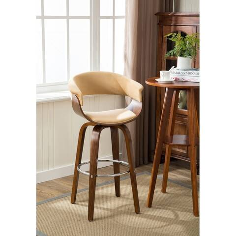 Porthos Home Axel Wood Bar Stools - Beech Wood Legs, Suede Upholstery