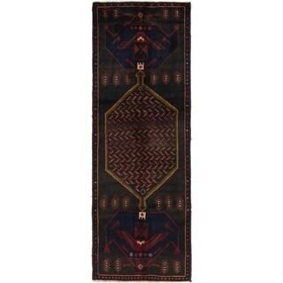 Hand Knotted Zanjan Semi Antique Wool Runner Rug - 3' 5 x 10'