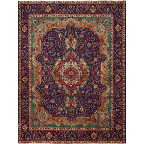 Hand Knotted Tabriz Semi Antique Wool Area Rug - 9' 10 x 12' 9