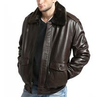 Men's Brown Aviator Lambskin Bomber Jacket with Detachable Collar