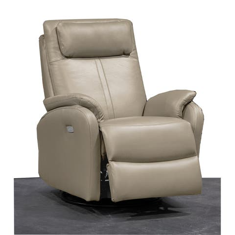 Thalia Contemporary Leather Power Swivel/Rocker Recliner