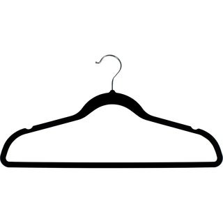 Black Rubber Coated Non-Slip Slim Line Suit Hanger, Box of 100 Flexible Ultra Thin Clothes Hanger w/ Swivel Hook and Notches