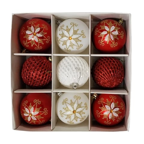 ALEKO Christmas Iridescent Holiday Ornament Pack of 9 Red and White
