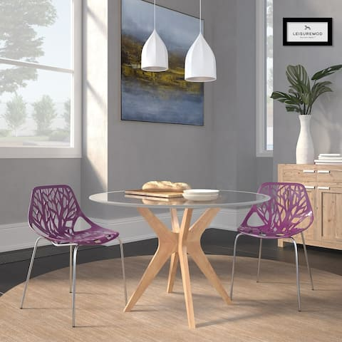 LeisureMod Asbury Purple Open Back Chrome Dining Side Chair Set of 2