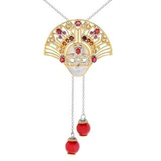 Michael Valitutti Palladium Silver Madeira Citrine, Red Coral & Multi Gemstone Venetian Mask Bolo Necklace