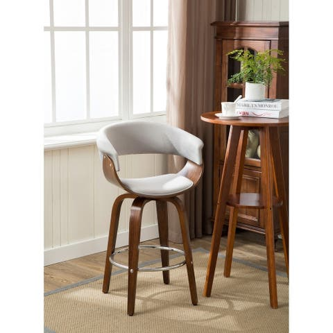 Porthos Home Zane Wood Counter Stools - Suede Upholstery, Beech Legs