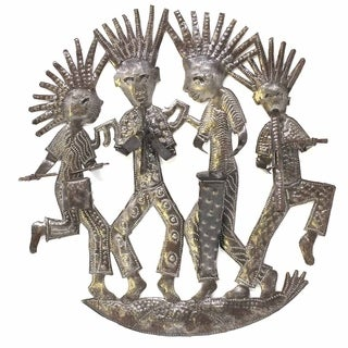 "Handmade Funky Band Metal Wall Art (13"" x 14"") (Haiti)"