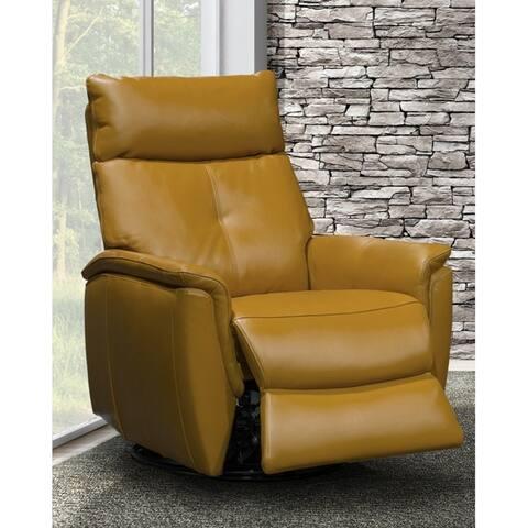 Emric Contemporary Leather Power Swivel/Rocker Recliner
