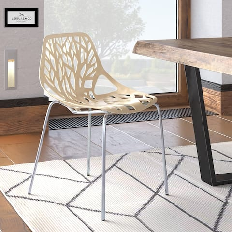 LeisureMod Asbury Cream Open Back Chrome Dining Side Chair