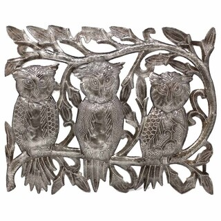 "Handmade Three Owls Metal Wall Art (11"" x 14"") (Haiti)"