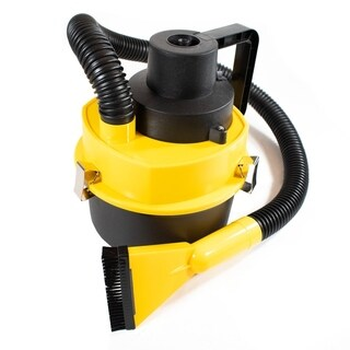 ALEKO Portable Car Vacuum with Extension Nozzle 90W 12V Yellow and Black