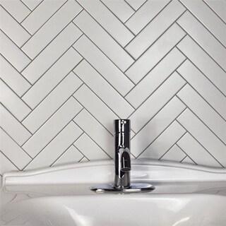 SomerTile 1.75x7.75-inch Victorian Soho Subway Matte White Porcelain Floor and Wall Tile (160 tiles/16 sqft.)