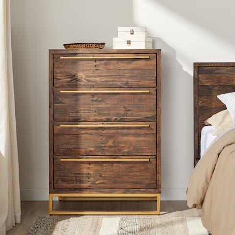 Carbon Loft Monterey Brown Pine and Steel 4-drawer Tallboy Dresser