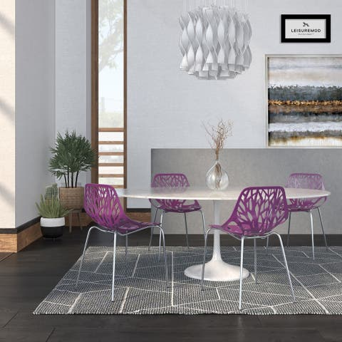 LeisureMod Asbury Purple Open Back Chrome Dining Side Chair Set of 4