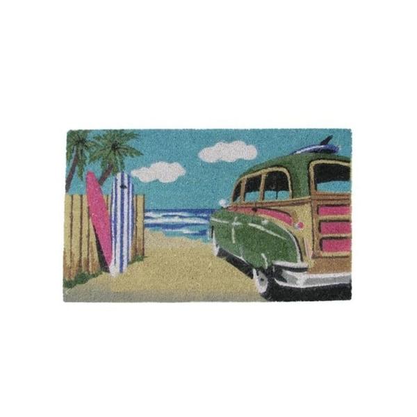 "Decorative Multi-Color Car on Beach Coir Outdoor Rectangular Door Mat 29.75"" x 17.75"""