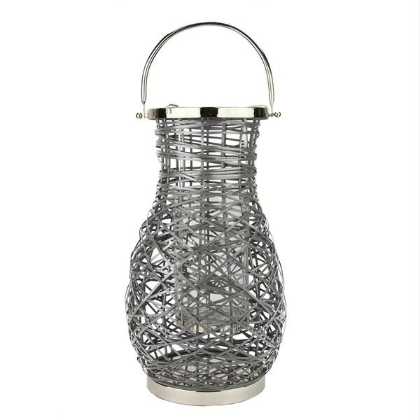 "18.5"" Modern Gray Decorative Woven Iron Pillar Candle Lantern with Glass Hurricane"