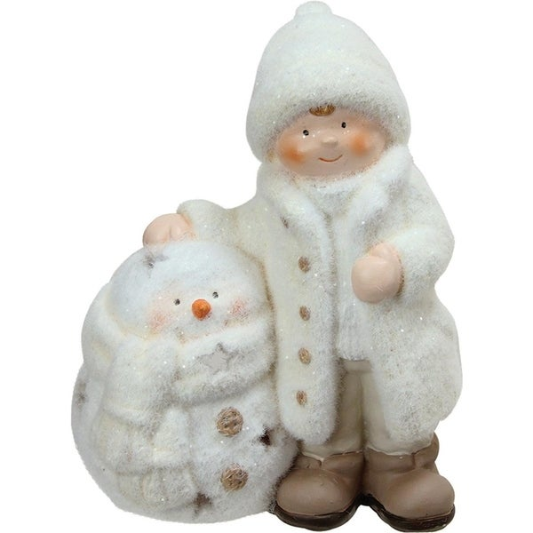 """8.75"""" White Tealight Snowman with Standing Boy Christmas Candle Holder"""