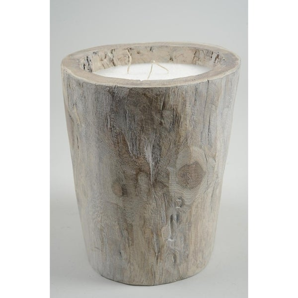 Seaside Treasures Rustic Chic Decorative Triple Wick Brown Wooden Giant Log Wax 20-inch Pillar Candle