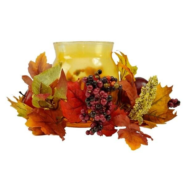 "17"" Autumn Harvest Apple and Berry Hurricane Glass Pillar Candle Holder"