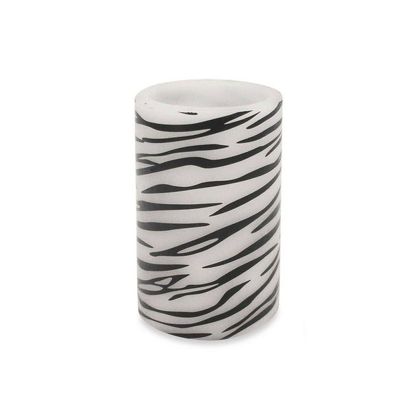 "6.75"" Zebra Print Battery Operated Flameless LED Lighted Flickering Wax Pillar Candle with Remote"