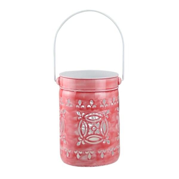 """7.5"""" L'Eau de Fleur Rose Pink Cut-Out Votive Candle Lantern"""