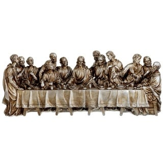 "12"" Inspirational Antique Silver The Last Supper Religious Table Top Figure"