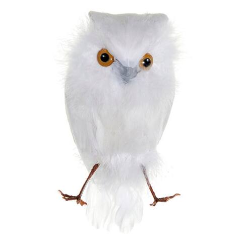 "6.5"" White Feathered Decorative Snow Owl Bird Figure"