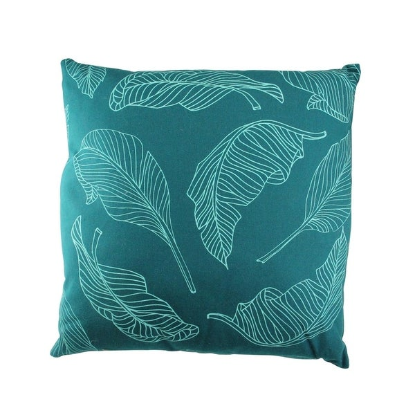"17"" Teal Green Tropical Leaf Decorative Cotton Canvas Throw Pillow"