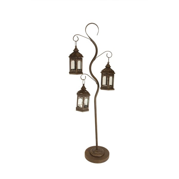 """50.5"""" Rustic Brown Pillar Candle Holder Tree with 3 Decorative Lanterns"""
