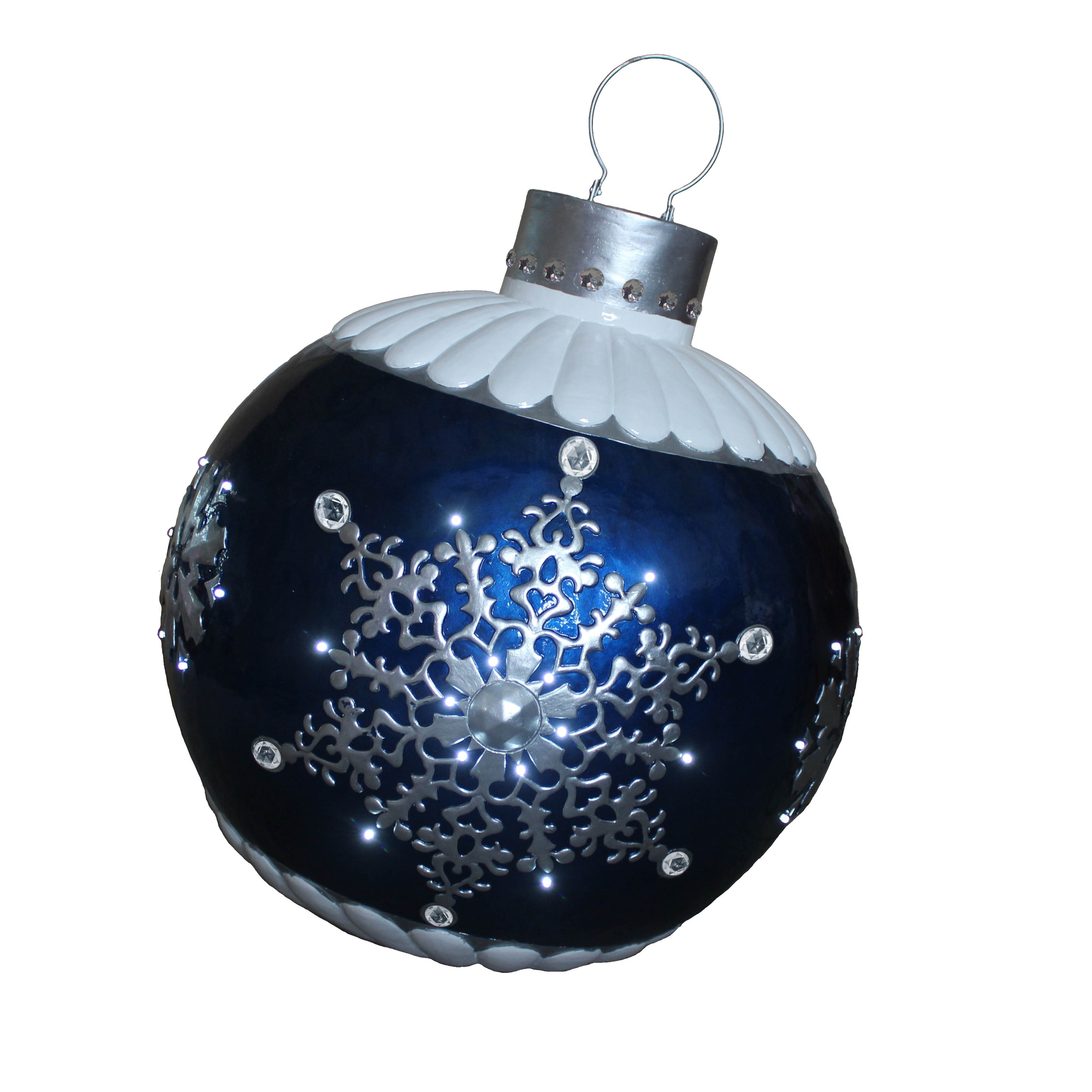 "Shop 37"" LED Lighted Blue Ball Xmas Ornament with Snowflake Outdoor Décor - Free Shipping Today - Overstock - 24103746"